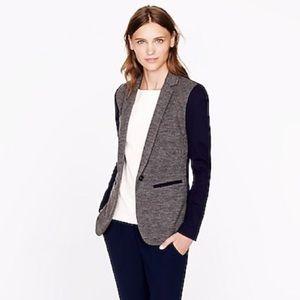 J. Crew Contrast Knit Wool Blend Fall Work Blazer